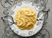 top view of delicious spaghetti on plate on grey textured surface with vegetables illustration