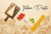 flat lay with delicious spaghetti with tomato sauce ingredients on yellow background with food illustration