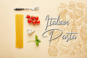 flat lay with delicious spaghetti with tomato sauce ingredients on yellow background with Italian pasta illustration