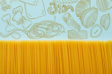 Top view of raw spaghetti on blue background with pasta illustration stock vector