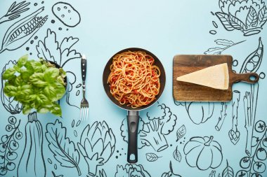 Flat lay with delicious spaghetti with tomato sauce in frying pan near basil leaves and parmesan cheese on blue background with food illustration stock vector