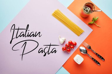 Flat lay with delicious spaghetti with tomato sauce ingredients on red, blue and violet background with Italian pasta illustration stock vector