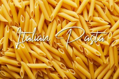 Top view of raw penne seamless background pattern with Italian pasta illustration stock vector