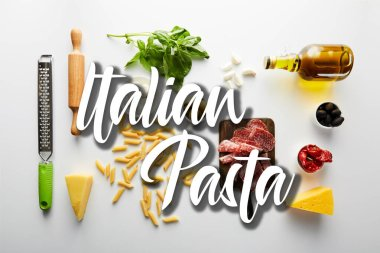 Flat lay with meat platter, bottle of olive oil, rolling pin, grater and ingredients on white background, italian pasta illustration stock vector