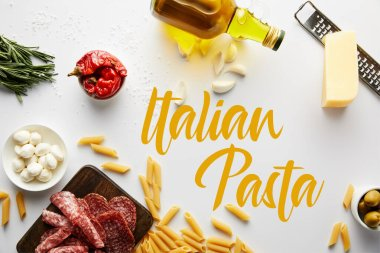 Top view of bottle of olive oil, meat platter, grater, pasta and ingredients on white, italian pasta illustration stock vector