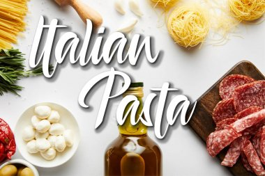 Top view of bottle of olive oil, meat platter, pasta and ingredients on white, italian pasta illustration stock vector