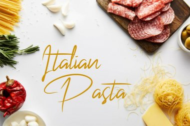 Top view of meat platter, pasta and ingredients on white background, italian pasta illustration stock vector