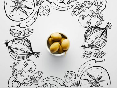 Top view of bowl with olives on white background, vegetables illustration stock vector