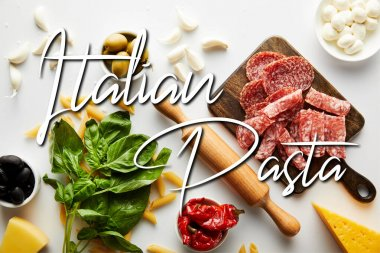 Top view of meat platter, rolling pin, basil leaves and ingredients on white background, italian pasta illustration stock vector