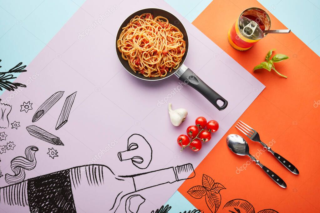 Flat lay with delicious spaghetti with tomato sauce in frying pan near ingredients on red, blue and violet background with vegetables and wine illustration stock vector