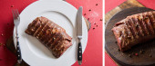collage of tasty grilled steak served on wooden board and on plate with cutlery on red background