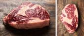 friss nyers steak kollázs fából készült vágódeszkán