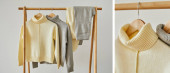 koláž béžových a šedých pletených měkkých svetrů a kalhot zavěšených na dřevěných ramínkách izolovaných na bílém