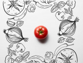 horní pohled na červené lahodné zralé rajče na bílém pozadí s černou zeleninou ilustrace