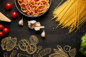 top view of tasty bolognese pasta in frying pan on black background with fresh ingredients, food illustration