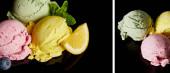 koláž z lahodné růžové, žluté a zelené zmrzliny koule izolované na černé
