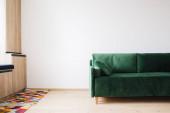 Fotografie grünes Sofa mit Kissen in der Nähe von buntem Teppich auf dem Boden und Holzschränken
