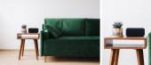 koláž zelené pohovky s polštářem a dřevěným konferenčním stolkem s rostlinnými a budíkem