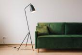 zelená pohovka s polštářem v blízkosti kovové moderní podlahové lampy