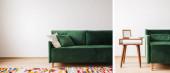 Fotografie Collage aus modernem grünem Sofa mit Kissen in geräumigem Zimmer mit buntem Teppich und Couchtisch