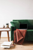 green sofa with blanket and laptop near wooden coffee table with plant and books