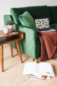 KYIV, UKRAJINA - 14. 4. 2020: zelená pohovka s dekou a notebookem s pinterest stránkami u dřevěného konferenčního stolku s rostlinou a smartphonem u knih na patře