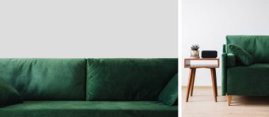 Collage of green sofa with pillows and wooden coffee table with plant and alarm clock stock vector