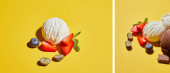 Photo collage of fresh tasty ice cream ball with mint leaves and berries on yellow background