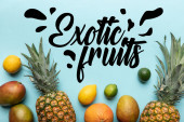 top view of whole ripe tropical fruits on blue background with exotic fruits illustration