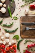 vrchní pohled na příbory na palubě v blízkosti čerstvé zralé zeleniny, bylin, koření a hub na dřevěném stole