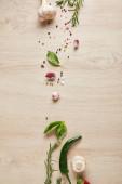 pohled na vynikající byliny a koření na dřevěném stole