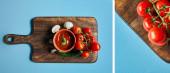 koláž z lahodné rajčatové omáčky v misce na dřevěné desce s čerstvou zralou zeleninou na modrém pozadí