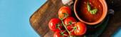 Draufsicht auf köstliche Tomatensauce in Schüssel auf Holzbrett mit frischem reifem Gemüse auf blauem Hintergrund, Panoramaaufnahme