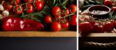 koláž krabic s houbami, cherry rajčaty, rajčatovou omáčkou v misce a poblíž rozmarýnu v dřevěné krabici na černém