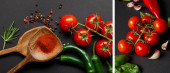 koláž z organických cherry rajčat, rozmarýn, pepřová zrna, listy bazalky, dřevěné lžíce s paprikovým práškem a zelené chilli papričky na černém