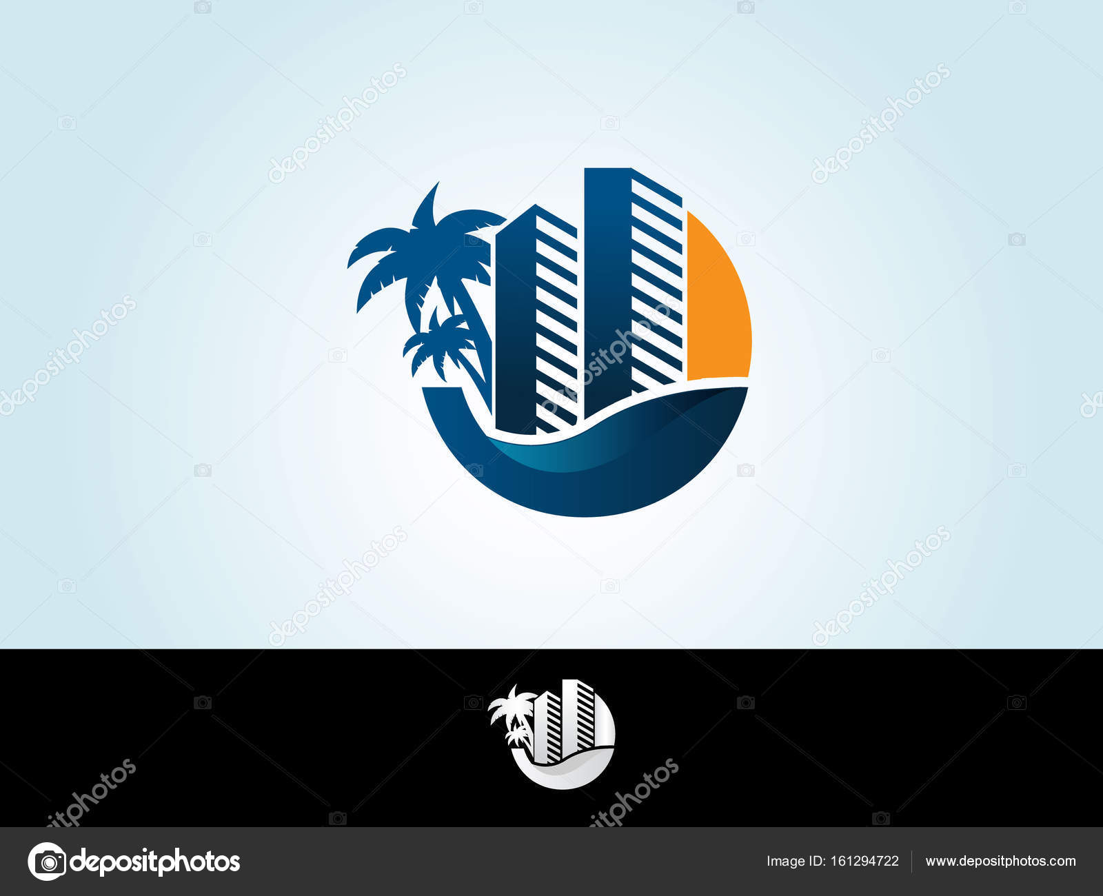 Vector Logo Icon Design Template Tropical Island Palms Hotel And Sunset On Seaside Concept For Travel Agency Resort Beach Spa