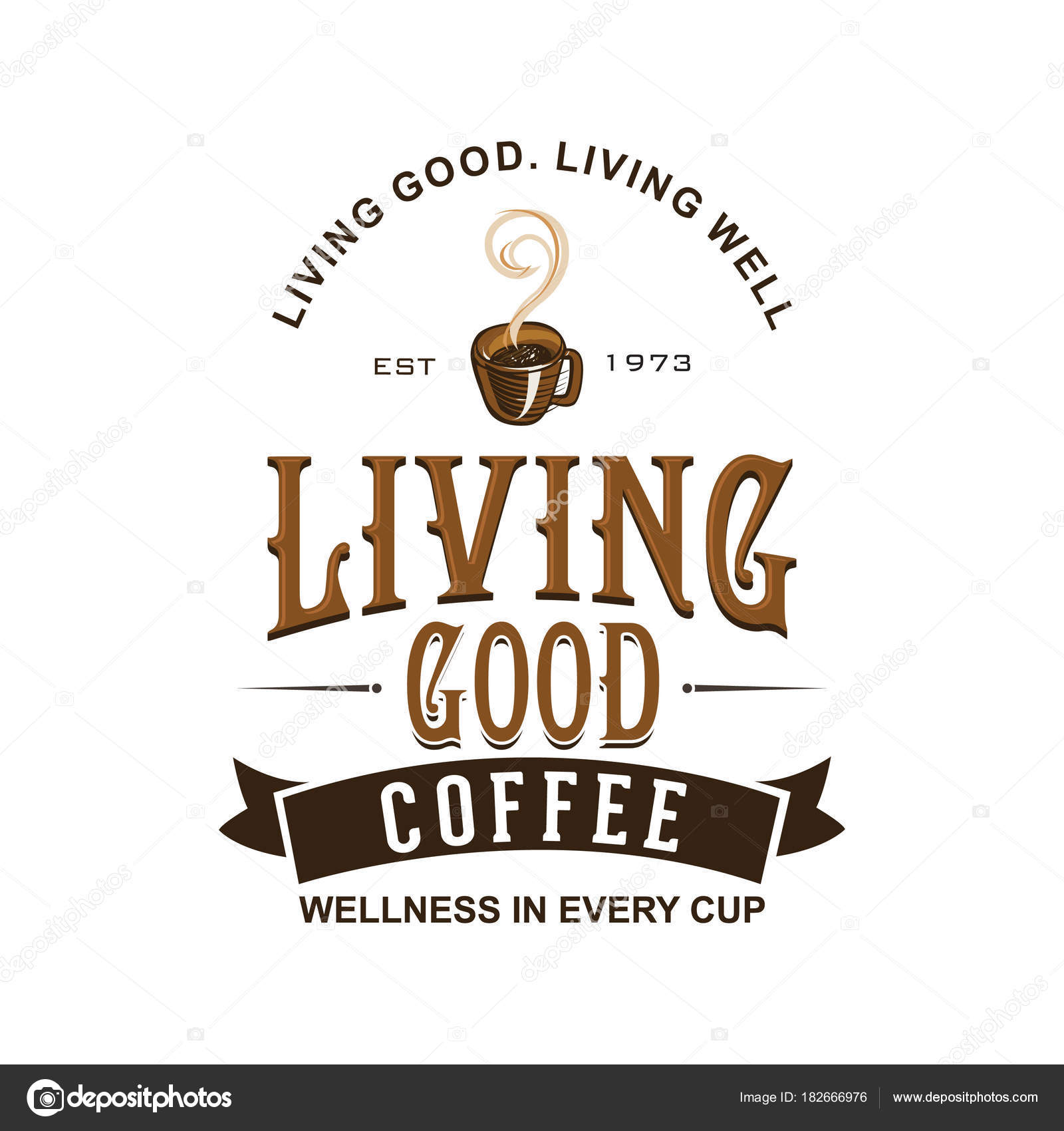 Coffee Shop Logo Vorlage Natürliche Abstrakten Kaffeetasse Mit Dampf ...