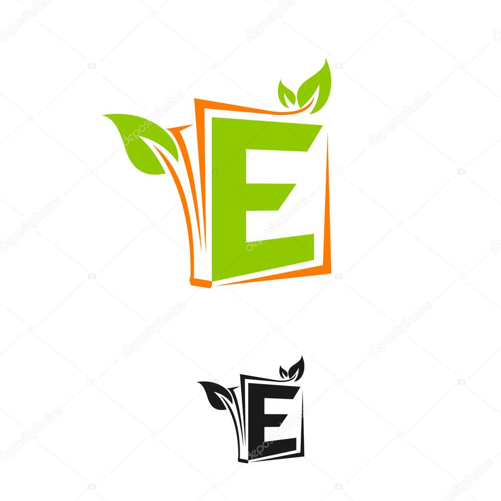 Initial Letter E Logo with leaf or plants Element