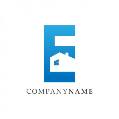 Initial Letter E realty logo in negative space