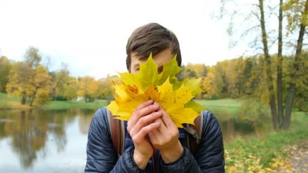 Veselý mladý muž, vykukoval za žluté javorové listy a usmívá se, při pohledu na fotoaparát closeup