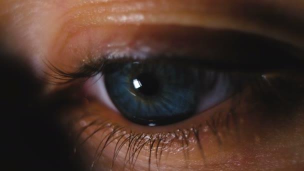 Krásné modré oko closeup, dívka zpívá knihu o telefon makro záběr, 4k.