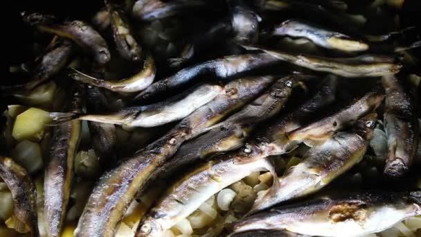 Bereit Lodde Fischgericht mit Kartoffeln auf einem dunklen Hintergrund in einer Pfanne Draufsicht, Slow-motion