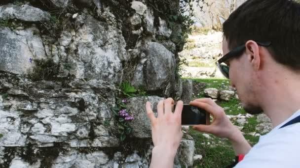 Turistické fotografie květin na kamenné zdi