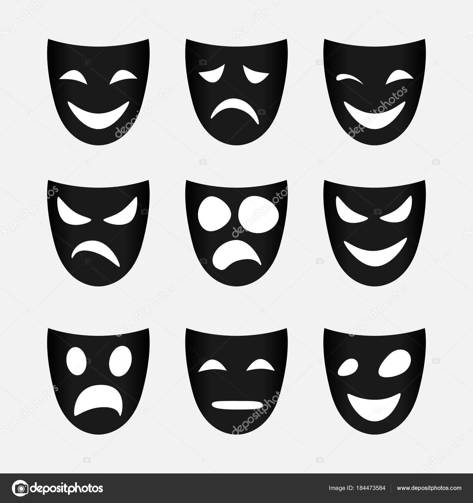 黒い仮面のセットのベクトル画像 ストックベクター Maksimankuda