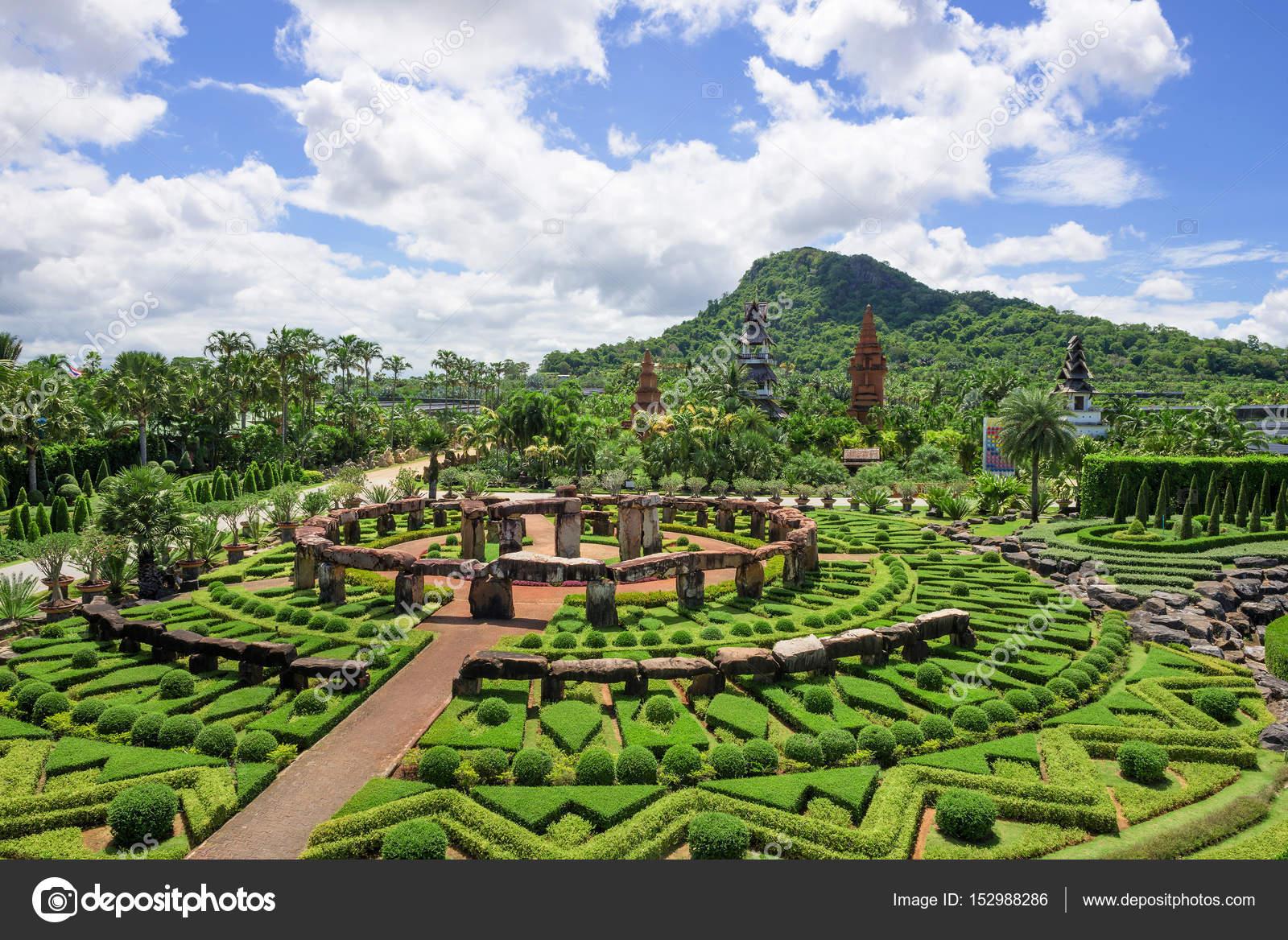 CHONBURI, THAILAND - AUGUST 08, 2015: Beautiful garden decoration in Nong Nooch Tropical Botanical Garden. Nong Nooch Tropical Botanical Garden is a ...