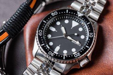 luxury stainless steel wristwatch