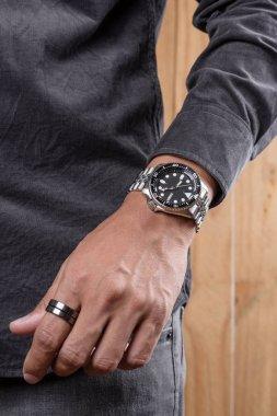 luxury wristwatch on the wrist