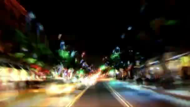 bright downtown lights driving in la