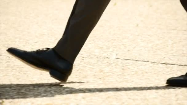 male person walking slow motion close up business people background
