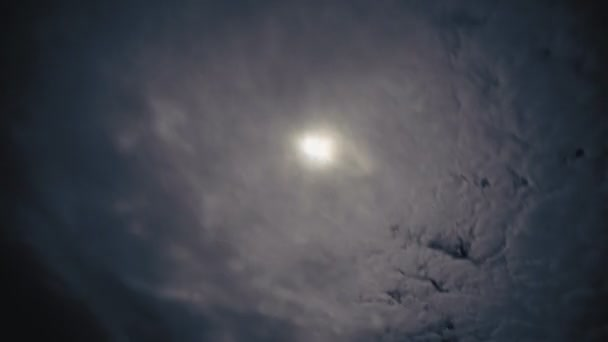 time lapse night clouds with moon